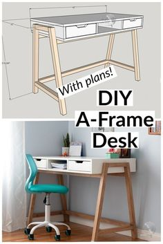 Easy DIY desk idea with plans. diy desk with drawer and storage. perfect for teen or chic home office. Mid century modern design. Full tutorial, video and plans. #anikasdiylife #woodworkingplans… More