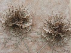 Botanical embroidery, Textile art, 3d textile sculpture, 'Paper Moon', by…