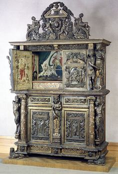 Style of Hugues Sambin (French, Gray ca. 1520–1601 Dijon) OTT but Wow what skill   Date:     19th century  Culture:     French  Medium:     Carved, painted, and gilded walnut
