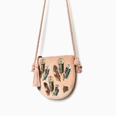 FEATHER DETAIL CROSSBODY BAG-View all-GIRL-ACCESSORIES-KIDS   ZARA United States Designer Purses And Handbags, Diy Bags Purses, Leather Diy Crafts, Leather Bags Handmade, Embroidery Purse, Leather Bag Pattern, Potli Bags, Diy Tote Bag, Beaded Bags