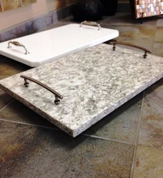 Don't throw away left over granite or any stone! Use for table tops, dog dish, walkways, cutting boards, corner shelves! #repurposegranite
