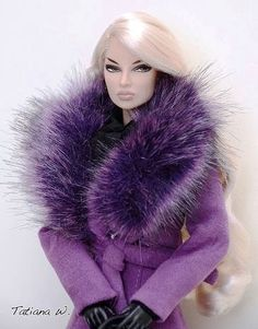 "Barbie in purple overcoat /purple fur trim. Ah ""Sukey, Sukey,"" Girl! qb"