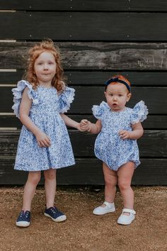 Little Girl's Blue and White Ditsy Floral Calico Print Pinafore Dress – cuteheads Easter Outfit For Girls, Ruffle Sleeve Dress, Cake Smash Outfit, First Birthday Outfits, Pinafore Dress, Ditsy Floral, Kids Outfits, Toddler Outfits, Holiday Outfits