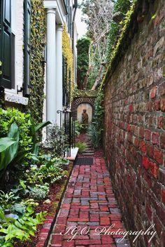 calming Charleston Gardens, Charleston Homes, Backyard Patio, Backyard Landscaping, Landscaping Ideas, Residential Landscaping, Walkway Ideas, Patio Ideas, The Secret Garden
