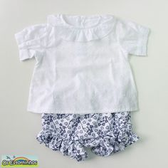 Baby outfit  White blouse and Floral pique by OsEstorninhos