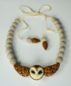 Barn Owl necklace needle felted wool art accessory / by roommate