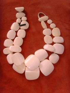 Monies white bones chunky double strand necklace