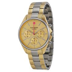 $203 Kate Spade Seaport Chronograph Mother of Pearl Dial Two-tone Ladies Watch 1YRU0200