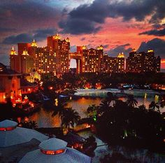 Atlantis Resort in The Bahamas at sunset.