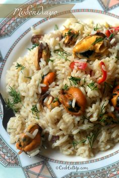 Greek Mussels with Rice. Greek Recipes, Fish Recipes, Seafood Recipes, Cookbook Recipes, Cooking Recipes, Healthy Recipes, Food Network Recipes, Food Processor Recipes, The Kitchen Food Network