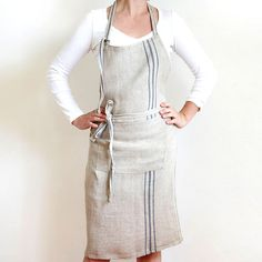 Flax Apron with Blue Stripes