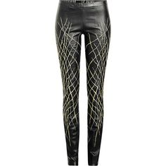 Haider Ackermann Printed Leather Leggings ($1,755) ❤ liked on Polyvore featuring pants, leggings, black, stretch waist pants, elastic waist pants, leather skinny pants, leather trousers and legging pants