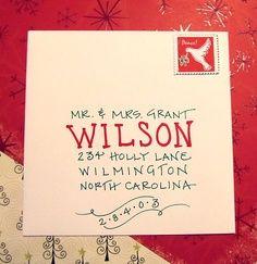 addressing Christmas cards