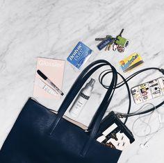 """Metrocard, Glossier Balm Dotcom, Rose Spray, Gum and Keys"" #5ThingsInMyBag - Emily Weiss"