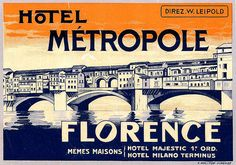 Hotel Metropole Florence - Art of the Luggage Label by Tom Schifanella