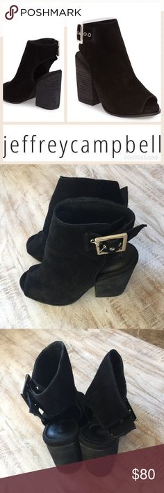 Jeffrey Campbell Briana Open Toe Bootie/Blk/sz 7.5 The Briana by Jeffrey Campbell will take you into fall in style!  Black ultra soft suede upper, open toe, adjustable ankle strap with silver buckle, 3.75 in stacked heel. Dept store closeout/no box/worn once, like new condition. 🚫no trades, low offers will not be accepted. Jeffrey Campbell Shoes Ankle Boots & Booties