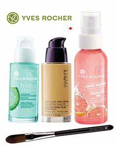 Yves Rocher Flawless look! HYDRA VEGETAL MOISTURE BOOST CONCENTRATE ($40.), FOUNDATION BRUSH ($14.), COULEURS NATURE FLAWLESS FINISH FOUNDATION ($27.), FRESH BEAUTY PINK GRAPEFRUIT VITAMIN FACE MIST ($4.95.)