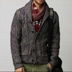 Cable Knit Cardigan Sweater, Mens Fall Winter Fashion.
