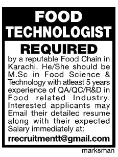 #PakJobs Job for Lahore Food Technologist required....