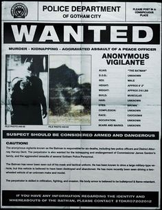The Dark Knight Rises.  Batman's Wanted Poster.