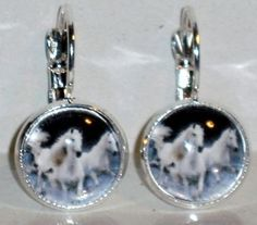 Ohrringe Pferd Schimmel Modeschmuck Damen Hänger Glas Metall Legierung handgemacht Neuware