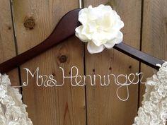 Bride Hanger, Bridal Hanger, Wedding Dress Hanger, Personalized Hanger, Bridesmaid Hangers, Custom Wedding Hanger, Shower Gift. $38.00, via Etsy.