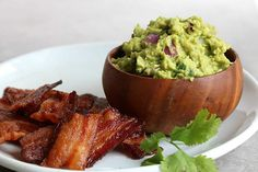 "Bacon ""Chips"" and Thick Guacamole Dip"