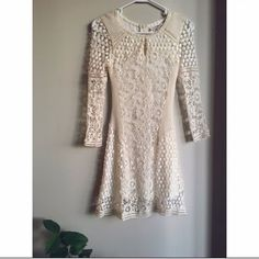 Off White Crochet Lace Dress Worn once. Back zipper. Price is firm. Dresses