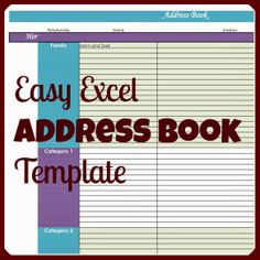 Free Excel Template - Personal address book | Organizing | Pinterest