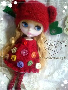 *☆Blythe outfit☆*くま耳ニット帽&お花モチーフのワンピ赤_画像2