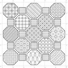 Octagon sampler: Blackwork pattern This listing is for a PDF pattern with black and white chart, which is available for immediate download. The