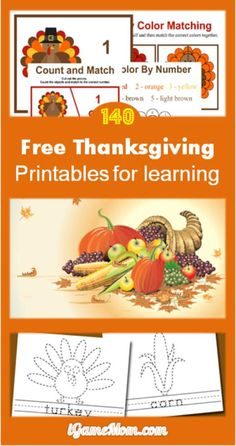 Free Thanksgiving Printable for Learning. Over 140 pages of fun educational activities for kids: math, crafts, words, spelling, coloring, and more