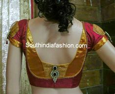 back neck blouse designs for silk sarees  Saree blouse - red + gold