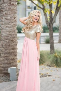 2017 Custom Made Pink Chiffon Prom Dress,Sexy Beading Sequins Evening Dress,Short Sleeves Party Gown,Floor Length Prom Dress,High Quality Champagne Bridesmaid Dresses, Modest Bridesmaid Dresses, Modest Dresses, Dance Dresses, Modest Outfits, Pretty Dresses, Homecoming Dresses, Sexy Dresses, Vintage Dresses