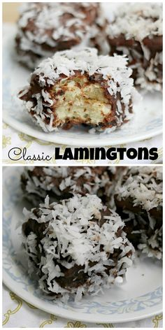 Lamingtons are a classic Australian treat made from sponge cake layers filled with strawberry jam, that are then dunked in chocolate and coconut!
