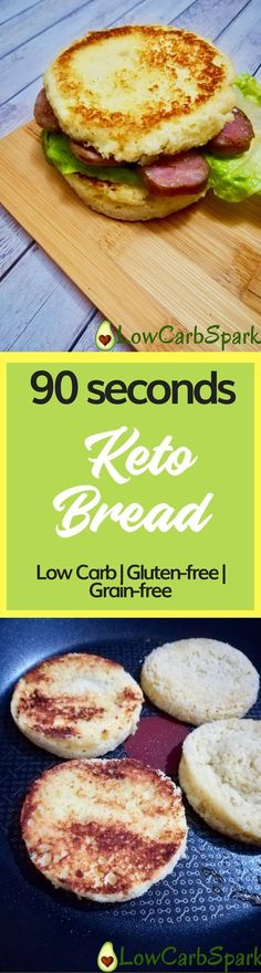 Gluten free - Grain free - Keto - Low carb - 90 second Keto bread Bread_ Low Carb & Grain-free heading Ketogenic Recipes, Paleo Recipes, Low Carb Recipes, Cooking Recipes, Kitchen Recipes, Induction Recipes, Cooking Tips, Easy Cooking, Zuchinni Recipes