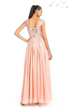 V Neck A Line Floor-length Beading & Sequins Dress