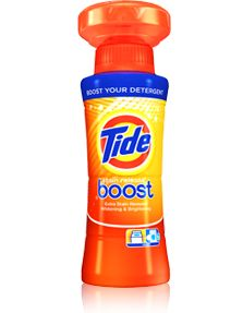 Tide Boost Stain Release - The in-wash booster that helps you remove tough stains the 1ST TIME.  Just add it to your wash along with your regular detergent and let it go to work for you on ketchup, strawberry jelly, chocolate and grass stains.