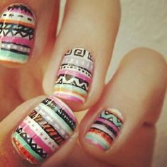 colorful print nails for spring summer