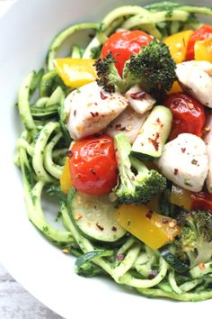 Roasted Chicken and Veg Courgetti with Creamy Pesto