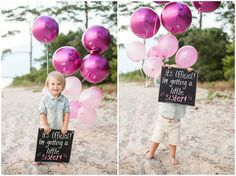 Virginia Beach Maternity Photography. Gender reveal pink balloons, chalkboard sign, big brother little sister, Angie McPherson Photography