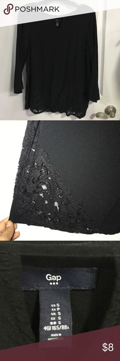 Gap black with a trim of black on both sides Gap black top with lace trim on sides GAP Tops Blouses