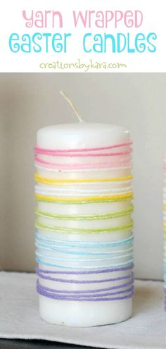 Quick and easy home decorating idea-- wrap pillar candles with colored yarn. A pretty way to add color to your Easter decor!