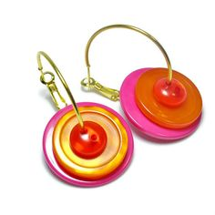 Upcycled Button Earrings in Hot Pink and Orange