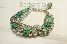 Pulsera con cadenas y cristales de roca by Barbarella Bijouterie