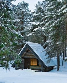 Image detail for -Wood Cabin. Winter. Trees And Snow. Royalty Free Stock Photo, Pictures ...