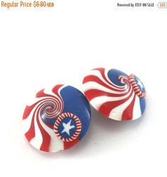 SPRING SALE Polymer clay lentil beads USA focal beads