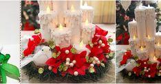 Haz lindas velas navideñas reciclando rollos de papel higiénico Christmas Diy, Christmas Wreaths, Christmas Decorations, Table Decorations, Holiday Decor, Toilet Paper Roll, Ideas Para, Decoupage, Candles