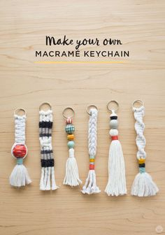 Send your kids back to school with their own macrame keychain! This DIY tutorial on Think.Make.Share shows you to basics of how to make macrame knots that you easily turn into a keychain. Click through to this easy how-to guide, and see more fun DIY macrame projects.