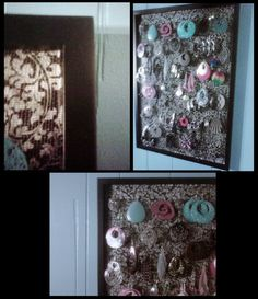 Earring holder... picture frame, screen from a window, contact paper, and lots of earrings.